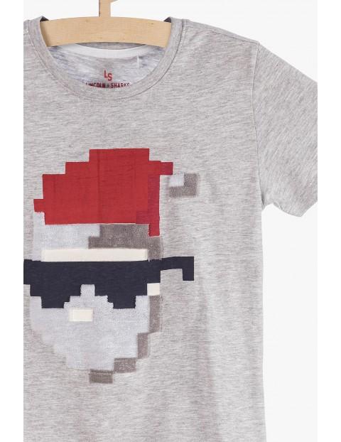 Dzianinowy t-shirt chłopięcy z Mikołajem