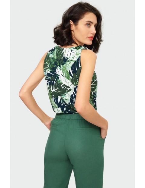 Bluzka damska z liście - grube ramiączka