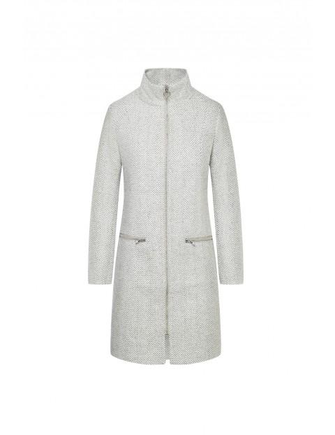 Dopasowany płaszcz ze stójką -  biały