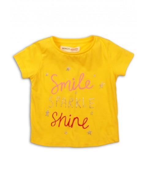 T-Shirt niemowlęcy żółty z napisami