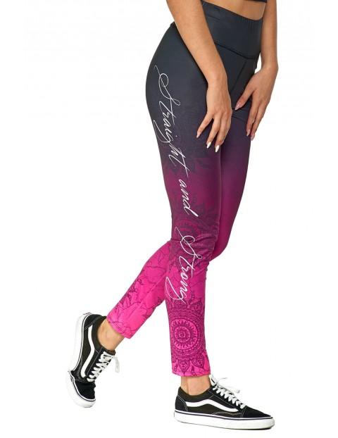 Legginsy damskie ombre z wzorem różowo-fioletowe