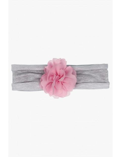 Opaska na głowę dla dziewczynki szara z kwiatkiem