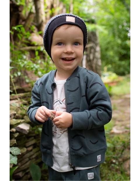 Bawełniana bluza chłopięca rozpinana we wzorki - zielona