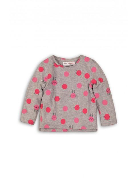 Bluzka dziewczęca szara w różowe wzorki