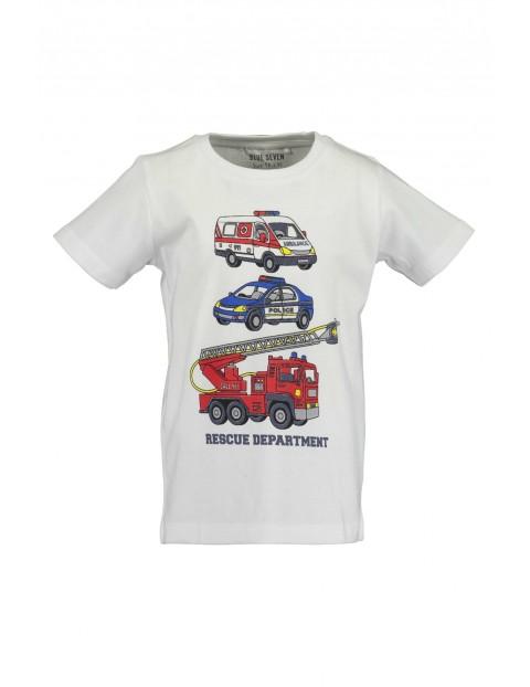 T-Shirt chłopięcy biały z nadrukiem samochodów ratowniczych
