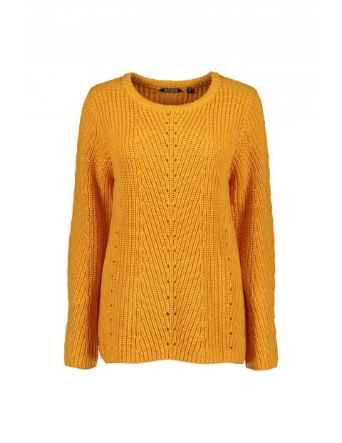 Damski sweter z dzianiny - żółty