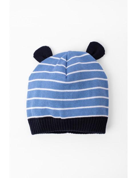 Czapka przejściowa dla niemowlaka- niebieska z uszami