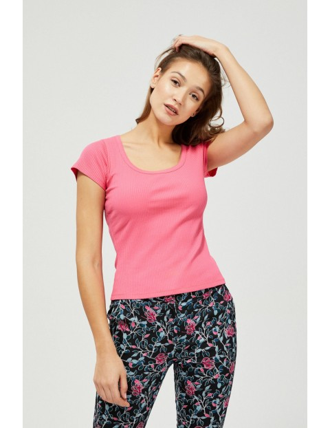 Różowy T-shirt damski na krótki rękaw