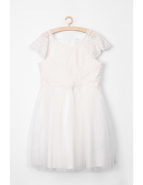 Sukienka dziewczęca biała z koronką i tiulem
