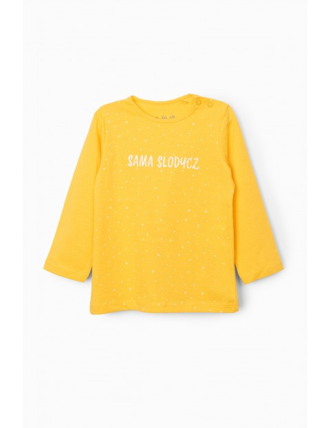 Bluzka dziewczęca z napisem Sama Słodycz - żółta
