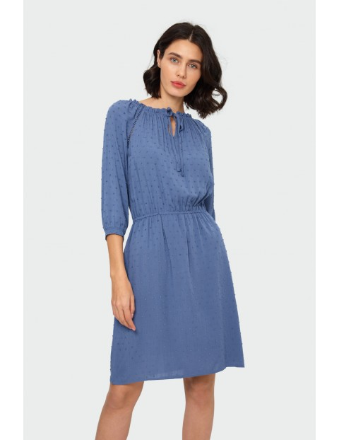 Sukienka o luźnym kroju typu hiszpanka niebieska