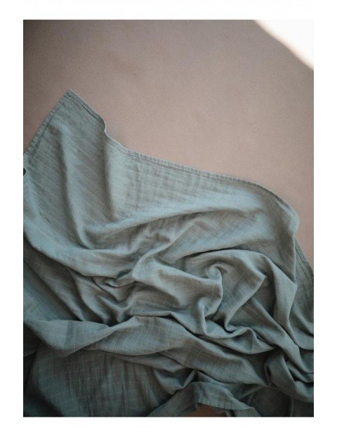 Mushie - otulacz kocyk letni 100% organic cotton Roman Green - zielony