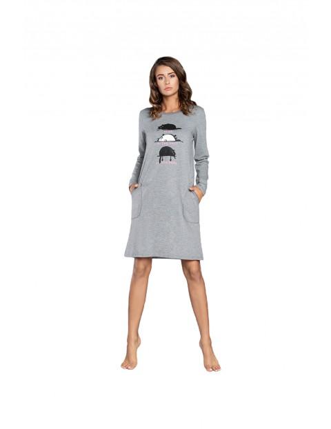 Koszula nocna damska  w koty na długi rękaw - szara