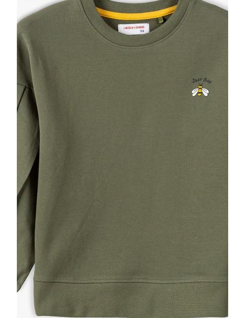 Bawełniana bluza dresowa dziewczęca z bufiastymi rękawami- khaki