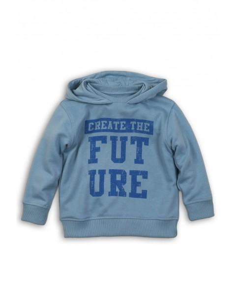 Bluza dresowa chłopięca niebieska z napisem z przodu
