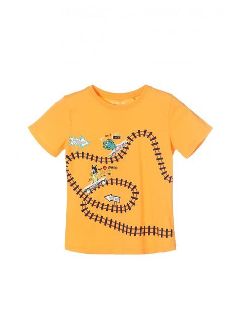 T-shirt chłopięcy 100% bawełna-pomarańczowy