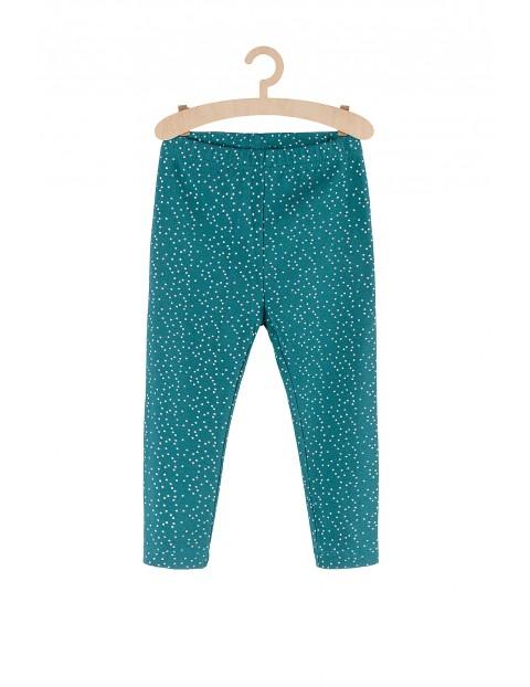 Leginsy dla dziewczynki zielone w srebrne kropki