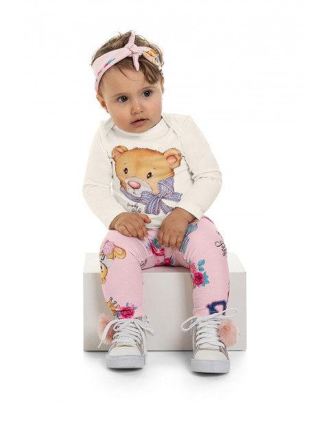 Spodnie niemowlęce w misie - różowe