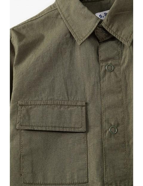 Bawełniana koszula chłopięca z długim rękawem khaki
