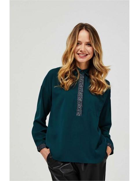 Bluzka damska zielona z kołnierzykiem