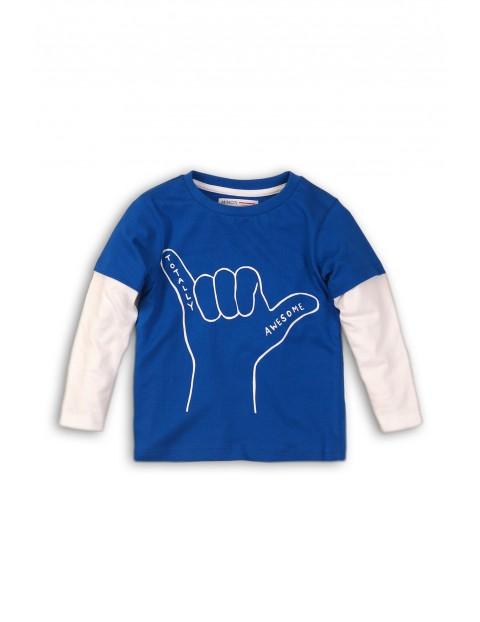 Bluzka niemowlęca niebieska z odcinanymi rękawkami