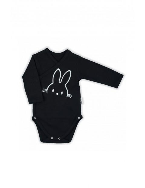 Bawełniane body niemowlęce kopertowe z długim rękawem