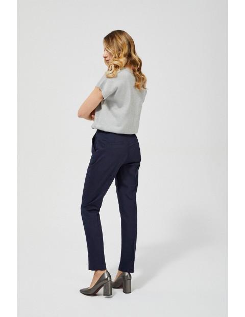 Spodnie damskie w kant - granatowe