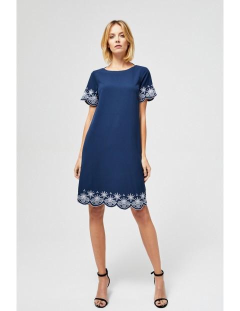 Sukienka damska granatowa z haftem