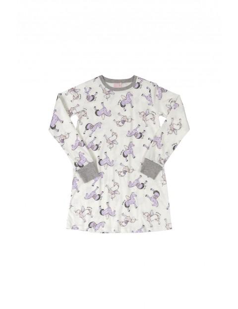 Bawełniana pidżama dziewczęca w jednorożce i w zebry - beżowa