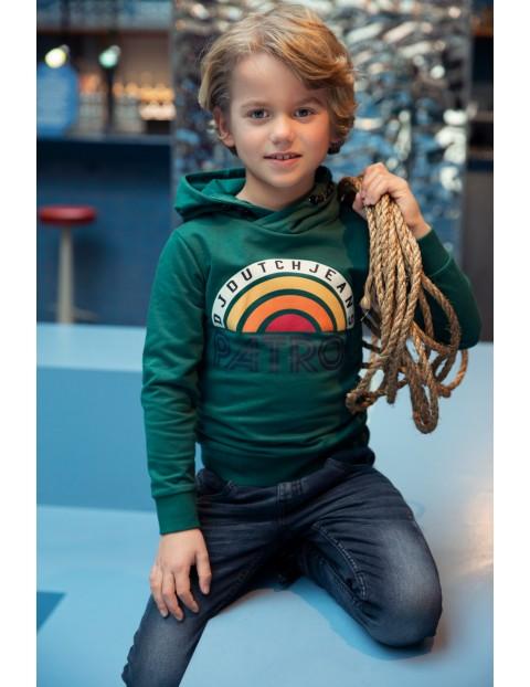 Bluza dresowa chłopięca zielona z nadrukiem