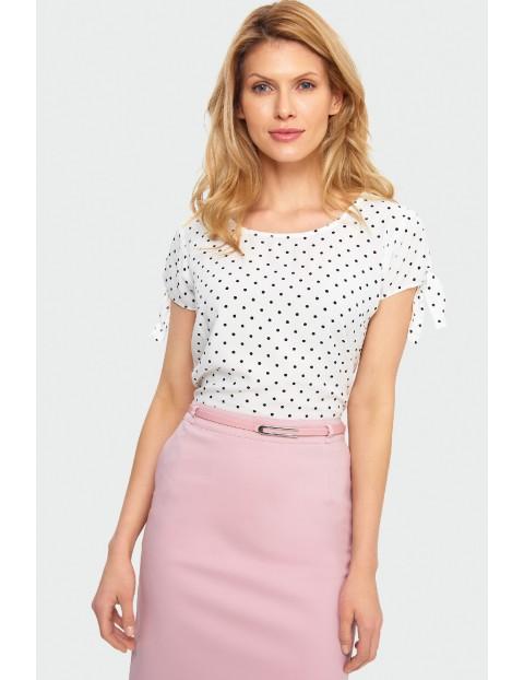 Wiskozowa bluzka damska biała w kropki