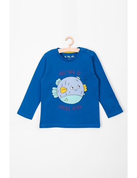Bluzka chłopięca niebieska z rybka i zabawnym napisem
