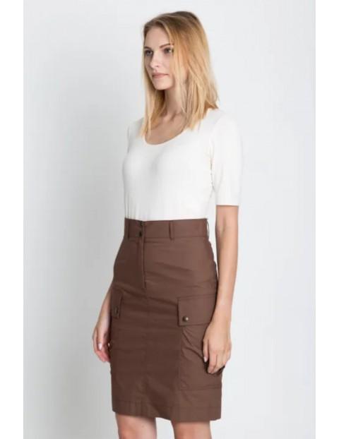 Brązowa spódnica mini z kieszeniami