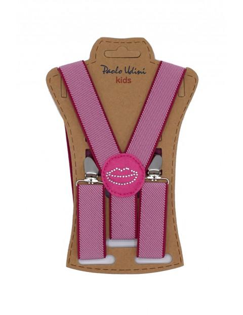 Szelki dziewczęce do spodni 60 cm - różowe