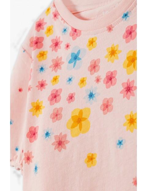 Piżama dziewczęca w kwiatki - różowa