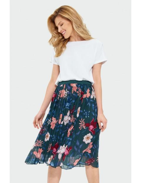 Zielona  plisowana spódnica damska w kolorowe kwiaty