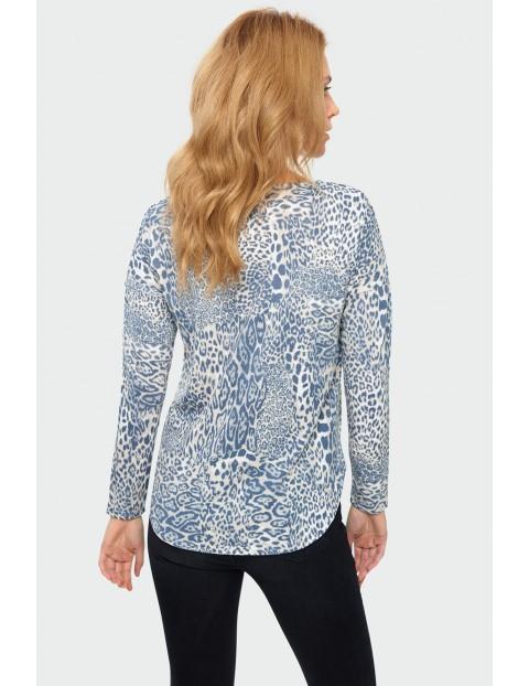 Sweter damski w panterkę - niebieski