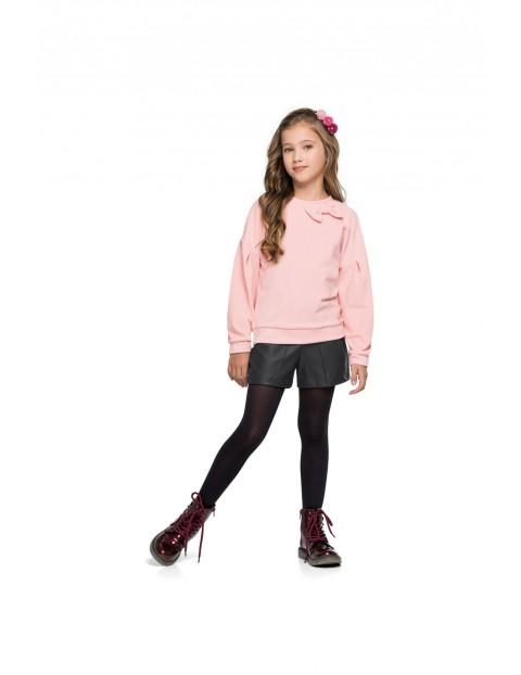 Komplet dziewczęcy bluzka z kokardką i czarne szorty
