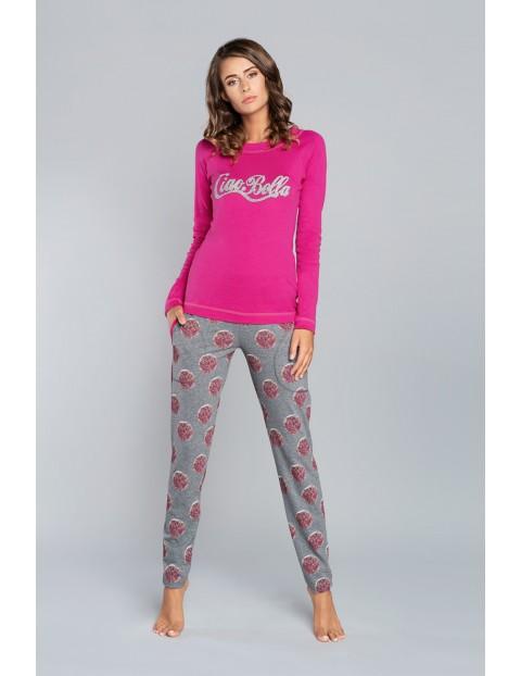 Piżama bawełniana damska Laboni długi rękaw, długie spodnie