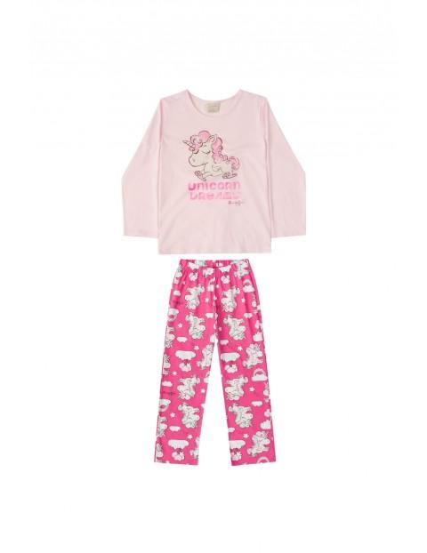 Pidżama dziewczęca z jednorożcem- różowa