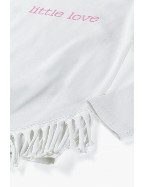 Bawełniana beżowa bluzka dziewczęca z napisem Little Love