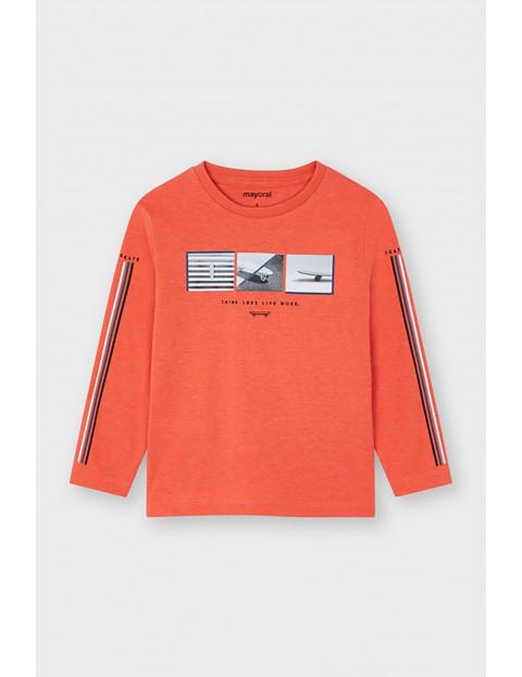 Koszulka chłopięca z nadrukiem - pomarańczowa