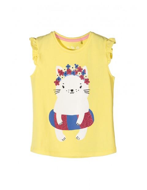 T-shirt dziewczęcy- żółty z kolorowym nadrukiem kota