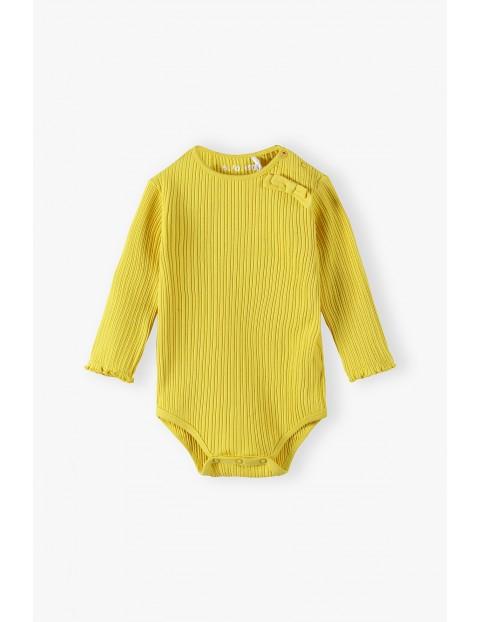 Żółte prążkowane body niemowlęce z długim rękawem