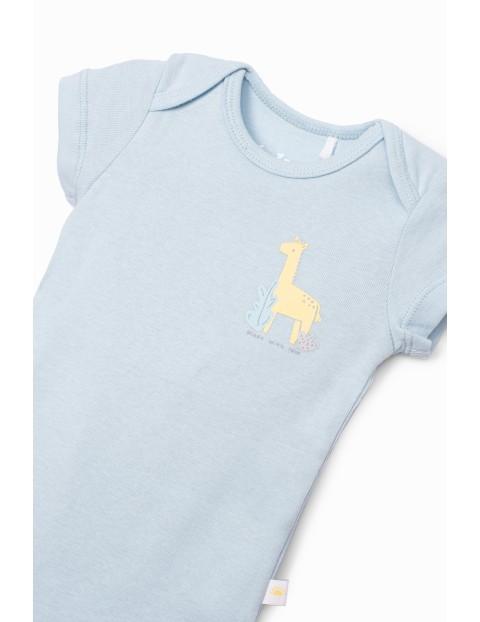 Body niemowlęce z krótkim rękawem- niebieskie z żyrafą