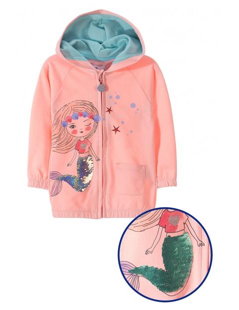 Bluza rozpinana dresowa dla dziewczynki z dwustronnymi cekinami