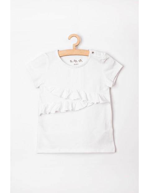 Koszulka niemowlęca biała z falbanką