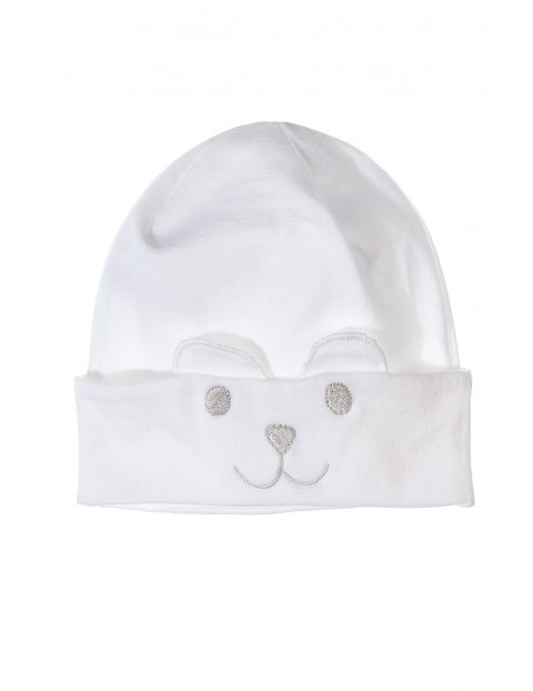 Czapka niemowlęca biała 5X3406