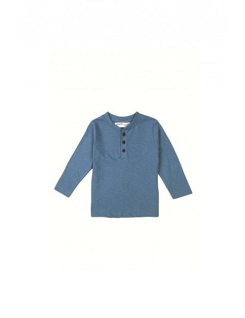 Bluzka niemowlęca bawełniana z guzikami niebieska