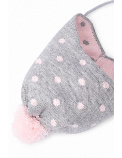 Czapka szara zimowa dla niemowlaka